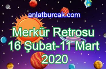 Merkür Retrosu 16 Şubat – 11 Mart 2020
